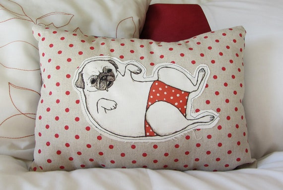 Pug in Pants novelty cushion - pillow - dog cushion - embroidered illustrated pillow