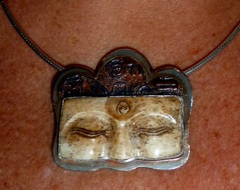 Sterling, Copper, Bone, Hand-carved Buddha Eyes Pendant  Bali Namaste