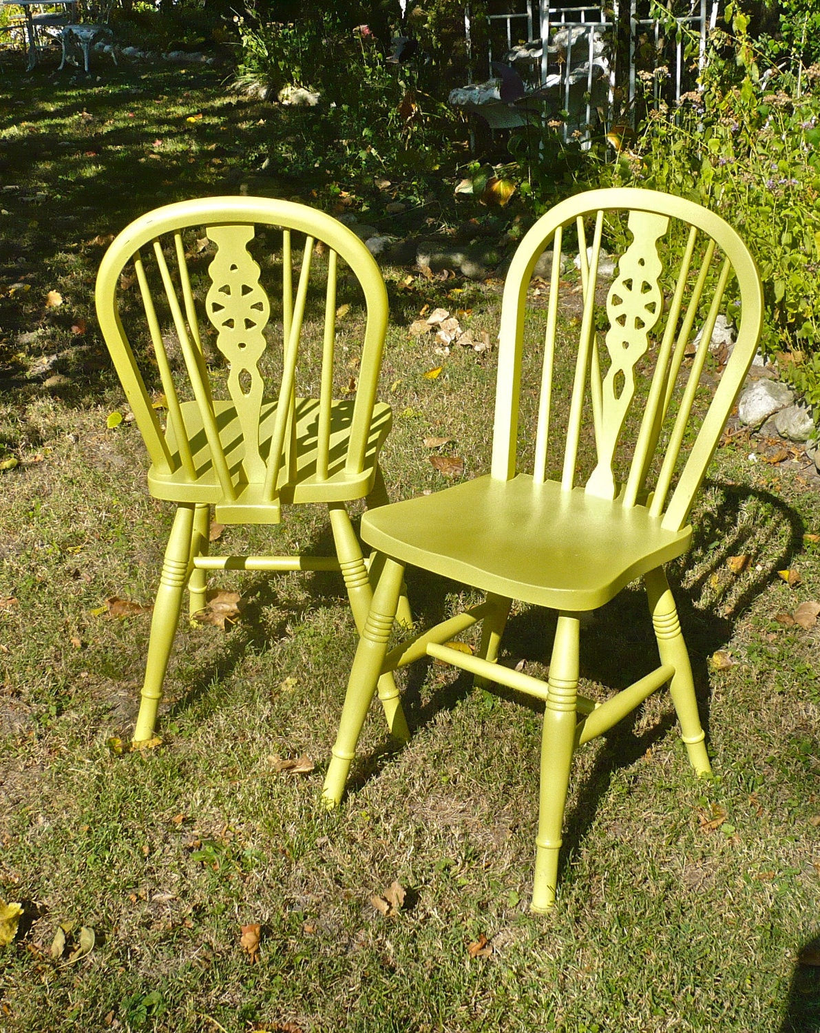 Painted chairs wood spindle back windsor set of two boho