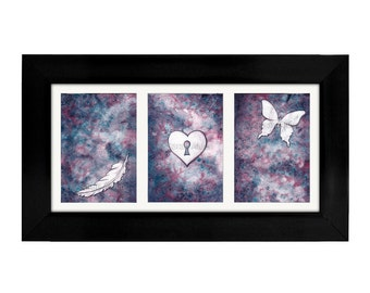 Inspirational Wall Art - Dream Art Print Set - Motivational Butterfly, Feather, Heart Painting Purple -Sarah Alden