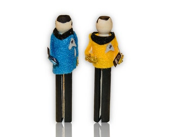 Classic Star Trek Captain Kirk and Mr. Spock  Clothespin Doll Ornament Kit TOS