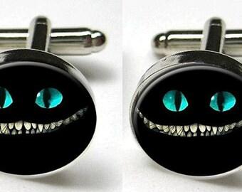 Silver Bezel CuffLinks Glass Round Cheshire Cat Evil Smile Grin Alice in Wonderland Men Wedding