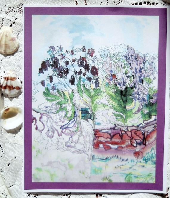 Lilac Dreams Print, Flower Watercolor Print, Lilac Pen and Ink Print,Home Decor  Lavender Blue, Kathleen Leasure, FromGlenToGlen