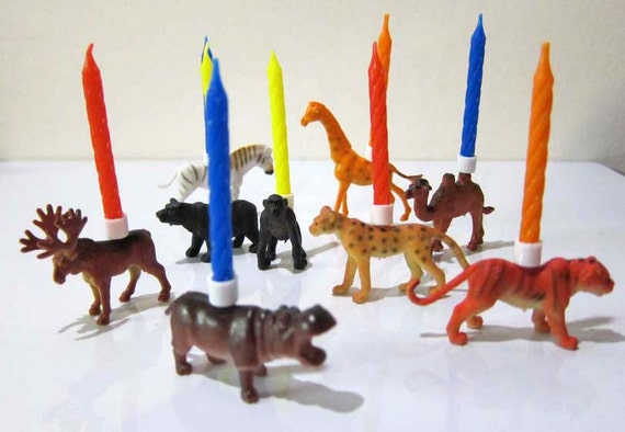 Zoo Animal PARTY ANIMALS Birthday Candle Holders set of 9