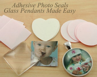 50 SEALS  Adhesive Stickers Glass Jewelry Making. Round 12mm, 14mm, 16mm, 18mm, 25mm, 20mm, 30mm, heart,  square. Alternative to Glaze