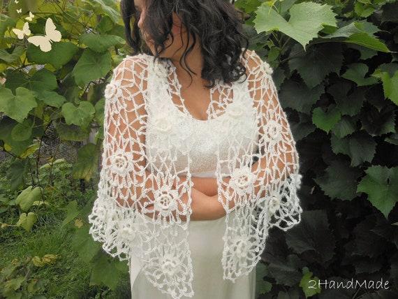 Irish Crochet Lace Shawl Pattern : Triangle Shawl Ivory Irish Lace Crochet Motifs Kid by ...