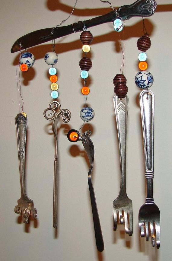 Pretty twisted silverware wind chime - Twisted silverware ...