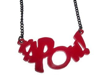 Kapow Necklace, Comic Book Super Hero, Red Laser Cut Pedant