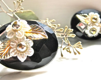 Black Onyx Earrings Clip on with Flowers Leaf Faceted Faux Wedding Fashion Style Art Deco