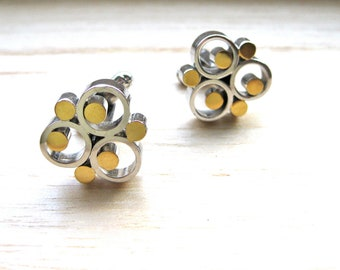 Cuff Links Mid Century Modern Silver and Gold Faux Unique Men's Jewelry Fashion Artistic Design Gift for Him