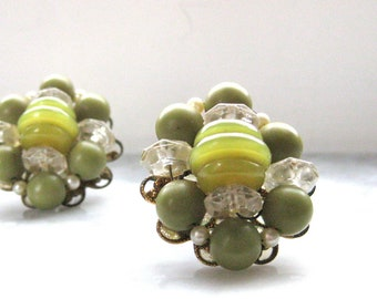 Clip on Earrings Olive Green with Clear beads faux Pearls Wired Fashion Vintage Jewelry Cluster Style