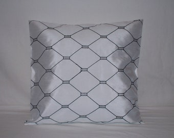 """20"""" x 20"""" White with Black Embroidered Stitching Decorative Pillow Cover"""