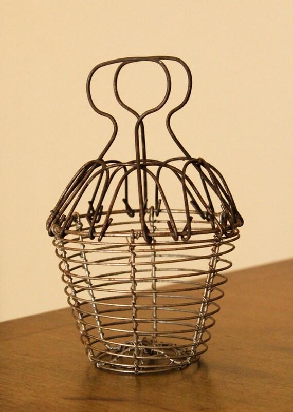 Vintage Primitive Industrial Childs Egg Basket Farm Metal Wire Mesh Round