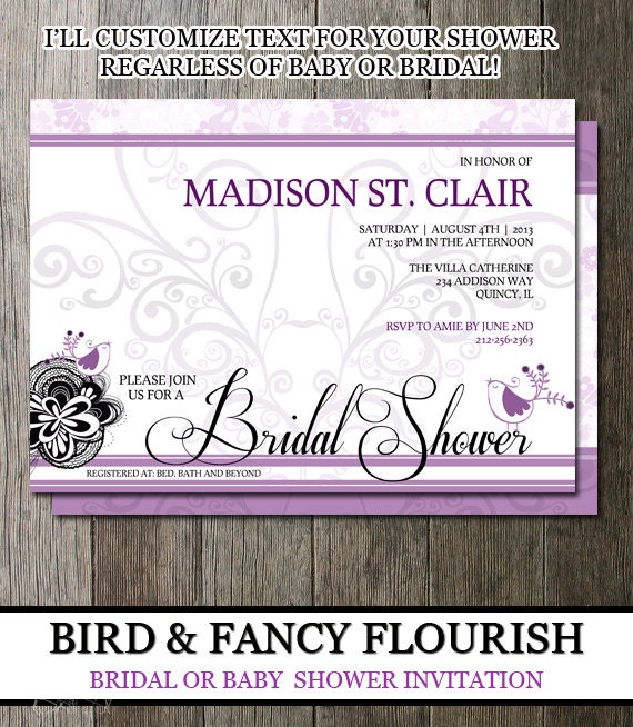 Bridal Shower Invite-Customizable text Baby Shower -  Bridal Shower -General Party Invitation- Personalized Invitation