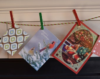 Christmas Card Holder, red green and silver