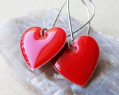 Dangle Drop Earrings - Bright Red Epoxy Enamel Hearts - Sterling Silver Plated over Brass (F-1)