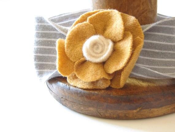 Felted Yellow Mustard Vintage Wool Flower Headband for Girl