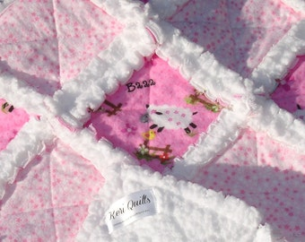 Baby Girl Rag Quilt - Blanket - Sheep - Pink - White - Flannel