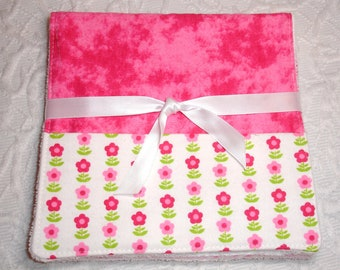 Baby Burp Cloth with Pocket - Set of 2 - Flannel, Terry Cloth - Flowers, Pink, Hearts, Stars
