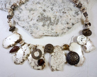 Chunky, Statement Necklace, White Turquoise, Antigue Bronze, Crystals, Coins, Charms