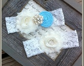 Wedding Garter- Vintage Wedding Bridal Garter and Toss Garter- Something Blue Wedding Garter-Toss Garter