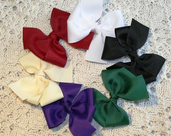 You Choose - SET of 3 Classic Grosgrain Hair Bow Clips - Great Colors for All Occasions