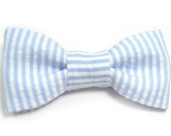 Men Striped ligth Blue Seersucker bowtie Kids Clip-On Bow Tie