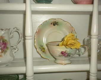 CLEARANCE SALE....Set of 2 Exquisite Bavarian Teacups and Saucers, Cottage,Cottage Chic, French, French Country,Shabby chic,Victorian