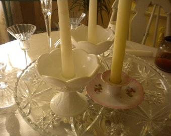 Eclectic Vintage 3 Piece Candlestick Set, Milk Glass, Wedding