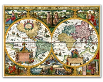 12x16'' Canvas Print of World Map from 1618, Orbis Terrarum Descriptio Duobis Planis, Nursery Room Decor