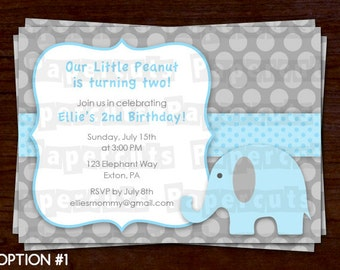 Elephant Theme Birthday Party Invitation | Blue & Grey | Personalized | Printable DIY Digital File