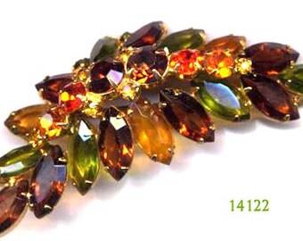 D&E aka Juliana Dome Brooch - 1960's Amber,Peridot,Orange,Peridot Fall Colors Item:14122