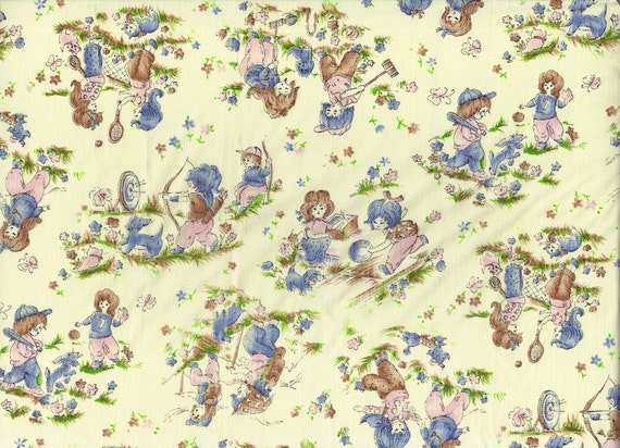 Retro fabric 60s vintage material pink blue children 39 s for Kids pattern fabric