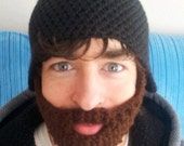 Crochet Beard Hat Adult Size Velcro Removable Bearded Face Warmer Snowboarding Skiing Black Hat/Brown Beard Other Colors Available