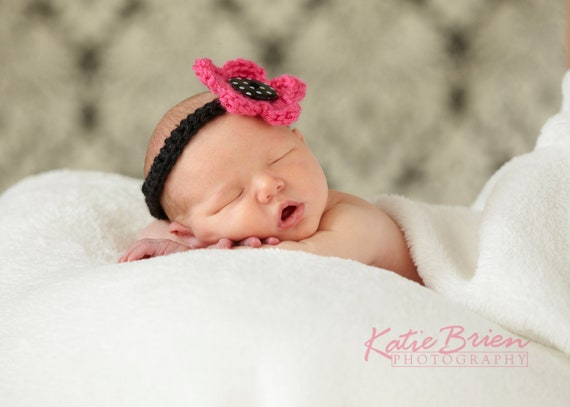 Pink Flower Headband with black and white polka dot button 0-3 Month Newborn Girl Photo Prop Crochet Flower Headband Hair Accessory