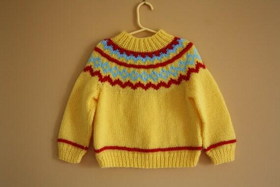 Vintage Handknit Fair Isle sweater  / handknit jumper / Yellow sweater  / size 3T- 4