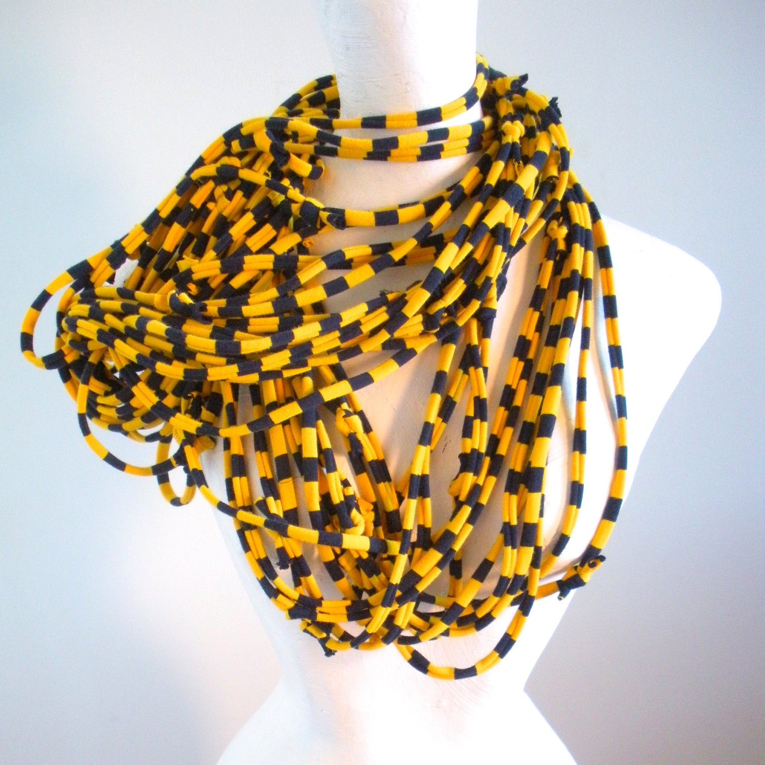 Navy Blue Gold Striped Infinity Scarf Upcycled Clothing Sport