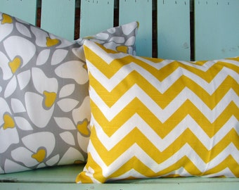Set of 2 white,gray,yellow floral and yellow, white chevron print fabric- decorative pillow cover-throw pillow-accent pillow