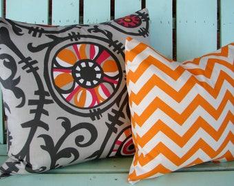 Set of 2  gray,orange,pink suzani vine print chevron designer fabric- decorative pillow cover-throw pillow-accent pillow