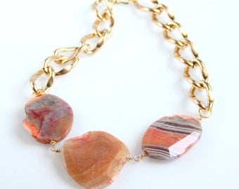 Chunky Amber Agate Necklace - Gold Chain, Terracotta, Orange, Striped Agate