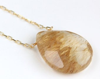 Coffee Quartz Necklace - Faceted Pendant, Gold Chain, Simple Statement Necklace, Gold Gemstone
