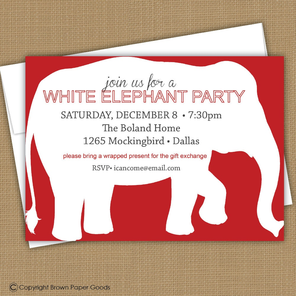 White Elephant Party Invitation By Brownpaperstudios On Etsy
