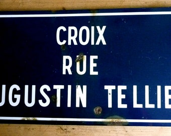 French vintage enamel street sign, cobalt blue, Industrial