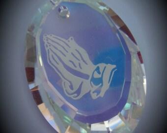 Limited Genuine Swarovski Crystal AB Praying Hands Pendant 6121