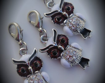 Silver Plated Owl Pendant / Charm With Crystals And Enamel