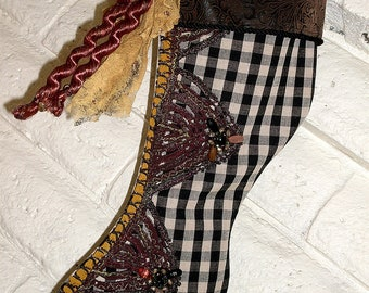 Steampunk Christmas Stocking Victorian Beaded Buttons Black Rose Corsage Gothic