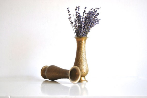 Pair of Brass Vases - Etched Peacock Design