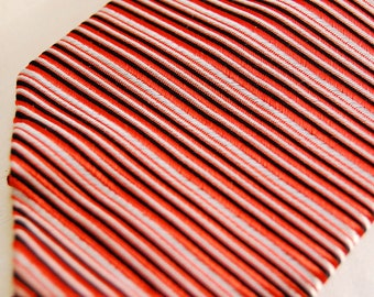 1960s Narrow Silk Necktie with fine Red, White, and Black Stripes