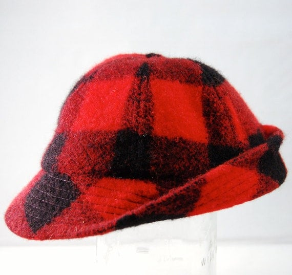 Red Check Wool Hunting Cap AMJ Pacific Co. Portland Oregon