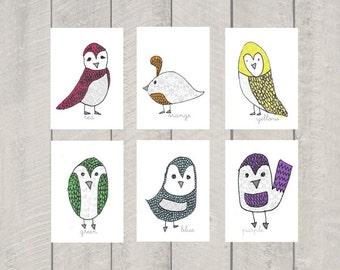 Nursery Art - Color Birds - Art Print - 5x7